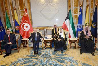 His Highness the Amir Sheikh Sabah Al-Ahmad Al-Jaber Al-Sabah during held summit talks with Tunisian President Beji Caid Essebsi