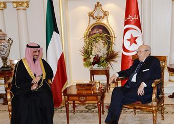 Tunisian President Beji Caid Essebsi receives National Assembly Speaker Marzouq Ali Al-Ghanim