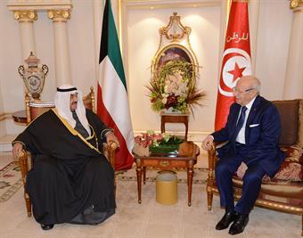 Tunisian President Beji Gaid Essebsi meet with His Highness Sheikh Nasser Al-Mohammad Al-Ahmad Al-Sabah