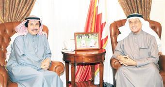 King of Bahrain's Advisor for Media Affairs Nabil Al-Hamar with Kuwait's Ambassador to Bahrain Sheikh Azzam Mubarak Al-Sabah