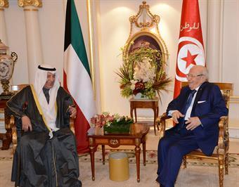 Tunisian President Beji Caid Essebsi meet Chairman of the Kuwait Chamber of Commerce and Industry (KCCI) Ali Thunayan Al-Ghanim