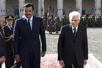 Italian President Sergio Mattarella receives Qatari Amir Sheikh Tamim bin Hamad Al Thani in Rome