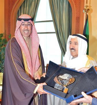 His Highness the Amir Sheikh Sabah Al-Ahamd Al-Jaber Al-Sabah receives Ahmadi Governor Sheikh Fawaz Al-Hamad Al-Sabah