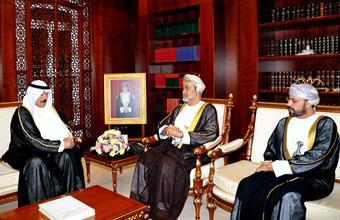 Envoy of His Highness the Amir Sheikh Sabah Al-Ahmad Al-Jaber Al-Sabah, Deputy Premier and Interior Minister Sheikh Mohammad Khaled Al-Hamad Al-Sabah delivers the letter to Sultan Qaboos bin Said