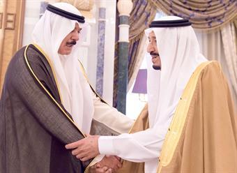 Saudi King Salman bin Abdulaziz Al-Saud receives Envoy of His Highness the Amir Sheikh Sabah Al-Ahmad Al-Jaber Al-Sabah, Deputy Premier and Interior Minister Sheikh Mohammad Khaled Al-Hamad Al-Sabah
