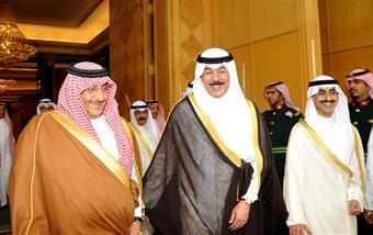 Envoy of His Highness the Amir Sheikh Sabah Al-Ahmad Al-Jaber Al-Sabah, Deputy Premier and Interior Minister Sheikh Mohammad Khaled Al-Hamad Al-Sabah leaves Riyadh