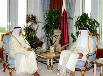 Envoy of His Highness the Amir Sheikh Sabah Al-Ahmad Al-Jaber Al-Sabah, Deputy Premier and Interior Minister Sheikh Mohammad Khaled Al-Hamad Al-Sabah, deliveres a letter to Qatari Amir Sheikh Tamim Bin Hamad Al-Thani on bilateral relations