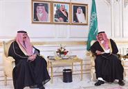 Interior Minister Sheikh Mohammad Al-Khaled Al-Hamad Al-Sabah with Saudi Interior Minister Prince Mohammad Bin Naif