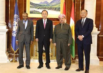 UN Secretary General Ban Ki-moon and President of Iraq's Kurdistan Region Massoud Barzani