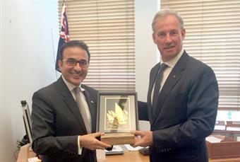Kuwait's Ambassador to Australia Najeeb Abdulrahman Al-Bader with Australia's minister for tourism and International education Richard Colbeck