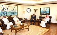 Chairman and General Director of Kuwait News Agency (KUNA) Sheikh Mubarak Al-Duaij Al-Ibrahim Al-Sabah receives Russian Ambassador Alexi Solomatin