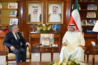 First Deputy Prime Minister and Minister of Foreign Affairs Sheikh Sabah Al-Khaled Al-Hamad Al-Sabah receives Albanian Ambassador to Kuwait Kotim Morina
