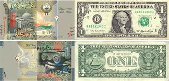 USD at KD 0.301, euro at KD 0.341