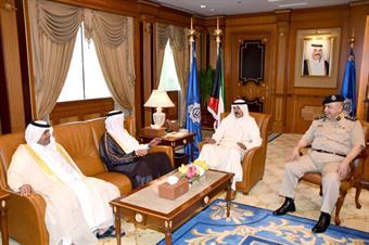 Deputy Prime Minister and Interior Minister Sheikh Mohammad Al-Khaled Al-Hamad Al-Sabah meets with Qatari Director General of Public Security Staff Major General Saad Bin Jassim Al Khulaifi