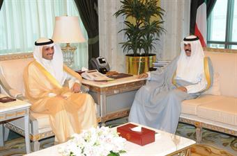 His Highness the Crown Prince Sheikh Nawaf Al-Ahmad Al-Jaber Al-Sabah met with National Assembly Speaker Marzouq Al-Ghanim
