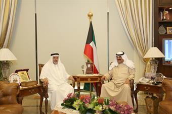 Kuwaiti Deputy Foreign Minister Khaled Al-Jarallah meets with Bahraini Ambassador to Kuwait Sheikh Khalifa bin Hamad Al Khalifa