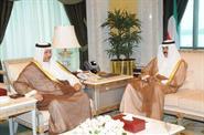 His Highness the Crown Prince Sheikh Nawaf Al-Ahmad Al-Jaber Al-Sabah receives His Highness the Prime Minister Sheikh Jaber Al-Mubarak Al-Hamad Al-Sabah