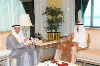 His Highness the Crown Prince Sheikh Nawaf Al-Ahmad Al-Jaber Al-Sabah receives National Assembly Speaker Marzouq Al-Ghanim