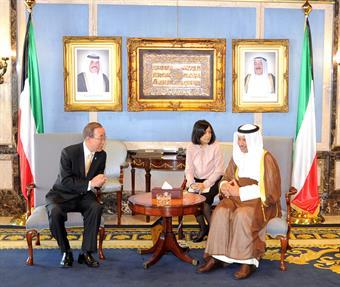 His Highness the Prime Minister Sheikh Jaber Al-Mubarak Al-Hamad Al-Sabah receives UN Secretary General Ban Ki-moon