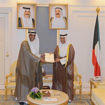 His Highness the Prime Minister Sheikh Jaber Al-Mubarak Al-Hamad Al-Sabah received Head of the Anti-Corruption Authority Adviser Abdulrahman Al-Nimash