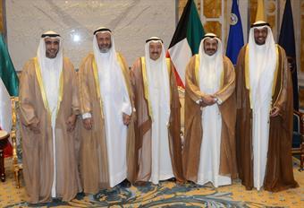 His Highness the Amir Sheikh Sabah Al-Ahmad Al-Jaber Al-Sabah receives Dr. Nasser Jassem Al-Sanae, Mohammad Abdullah Al-Elaim, Dr. Bader Ahmad Al-Nashi, and Mohammad Hussein Al-Dalal