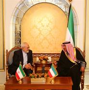 Deputy Prime Minister and Foreign Minister Sheikh Sabah Khaled Al-Hamad Al-Sabah meets with Iranian Foreign Minister Mohammad Javad Zarif