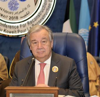 "United Nations (UN) Secretary General Antonio Guterres during his speech at the ""Kuwait International Conference for Reconstruction of Iraq,"""